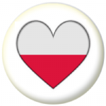 Poland Country Flag Heart 25mm Button Badge